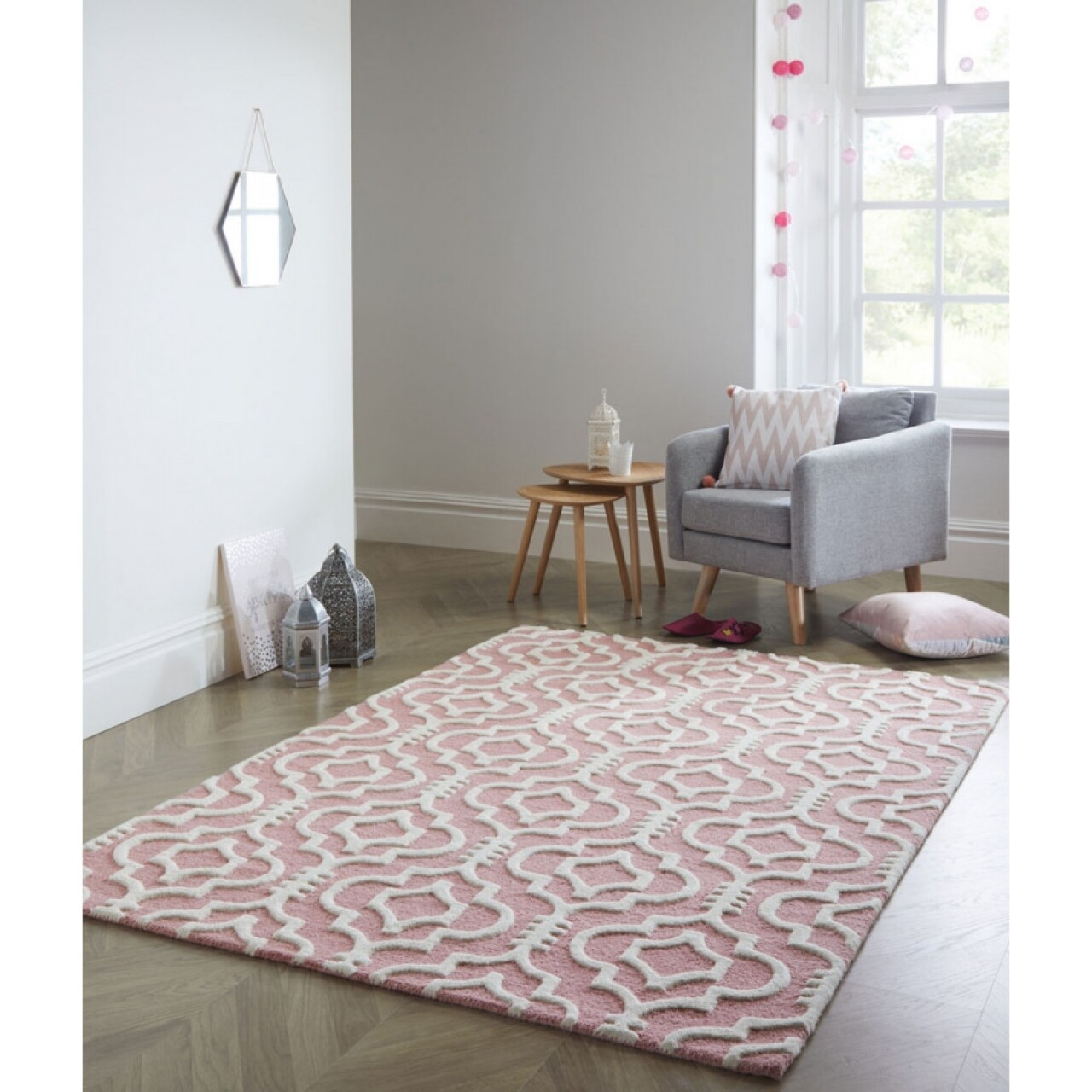 Covor Moorish Melilla Pink, Flair Rugs, 160 x 230 cm, 100% lana, roz/alb