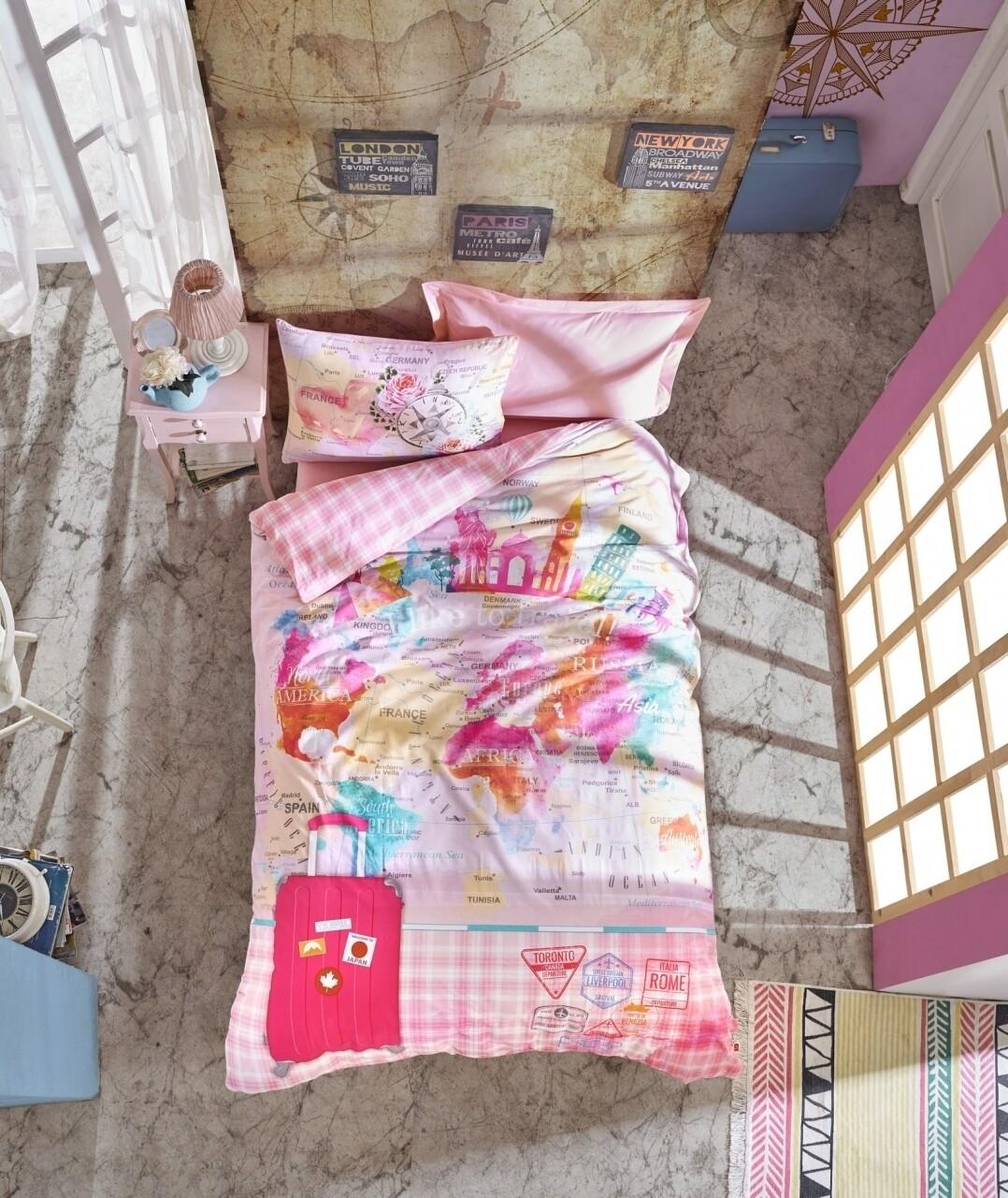 Lenjerie de pat pentru o persoana, 3 piese, 100% bumbac ranforce, Cotton Box, Escape