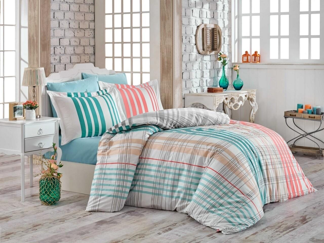 Lenjerie de pat pentru o persoana, 3 piese, 100% bumbac poplin, Hobby, Stripe Green, multicolora