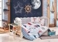 Lenjerie de pat pentru copii, 4 piese, 100% bumbac poplin, Hobby, Baby Sailor, multicolor