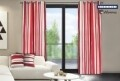 Set 2 draperii decorative, 100% bumbac, Red Stripes