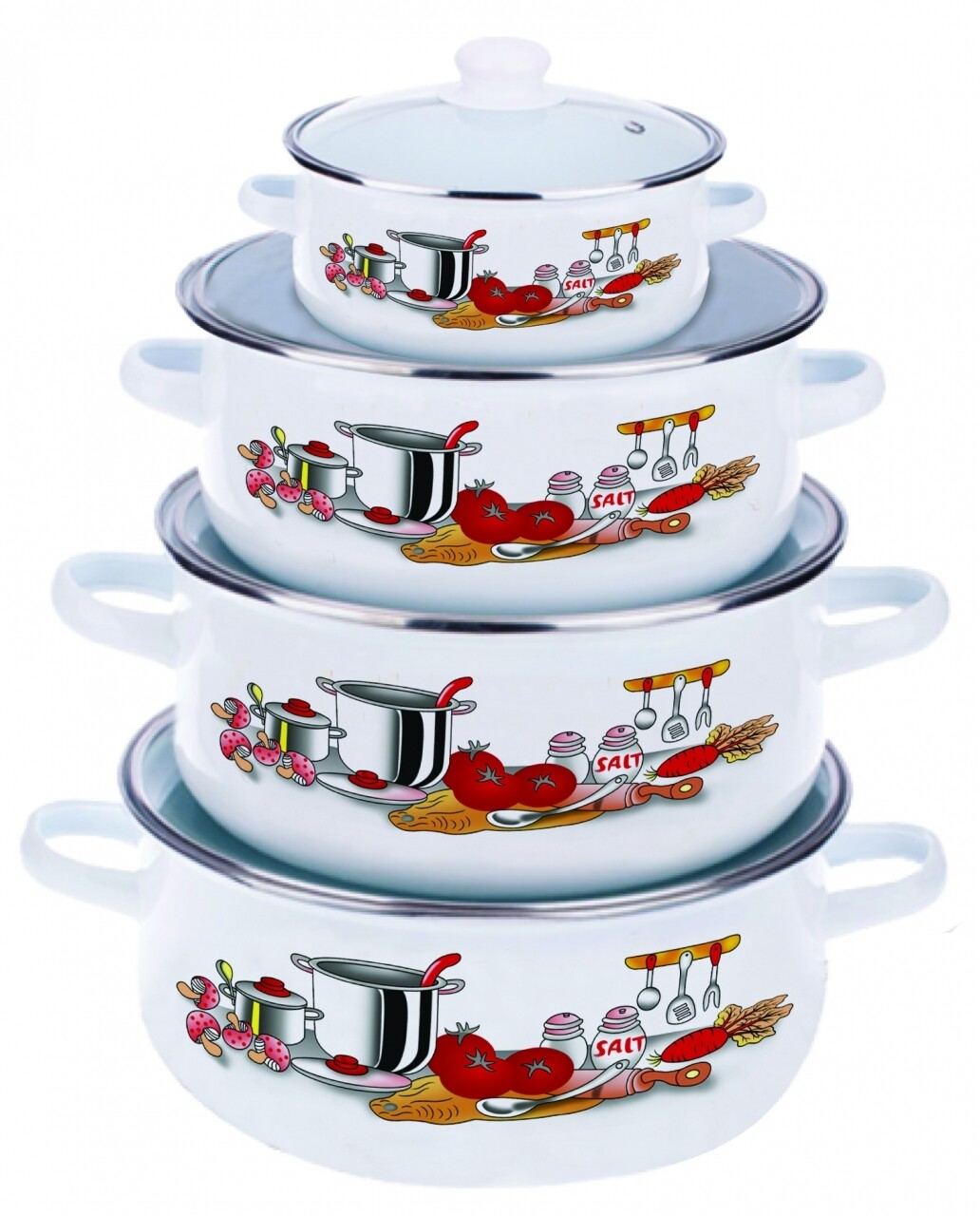 Set de gatit 8 piese, Kitchen, Vanora Home, 0.5l, 1.5l, 2l, 3l, otel carbon emailat si sticla, multicolor