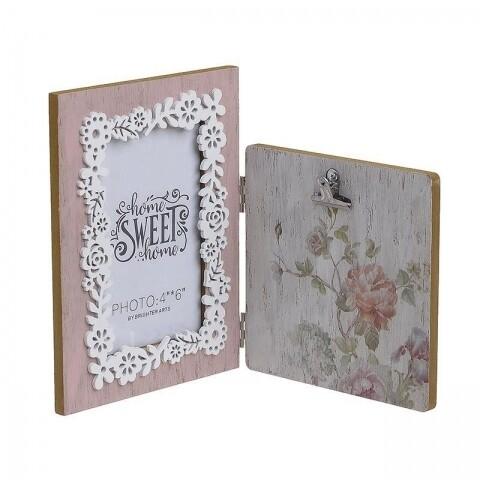 Rama foto Flowers, InArt, 2 fotografii, 20 x 30 cm, lemn, maro/roz