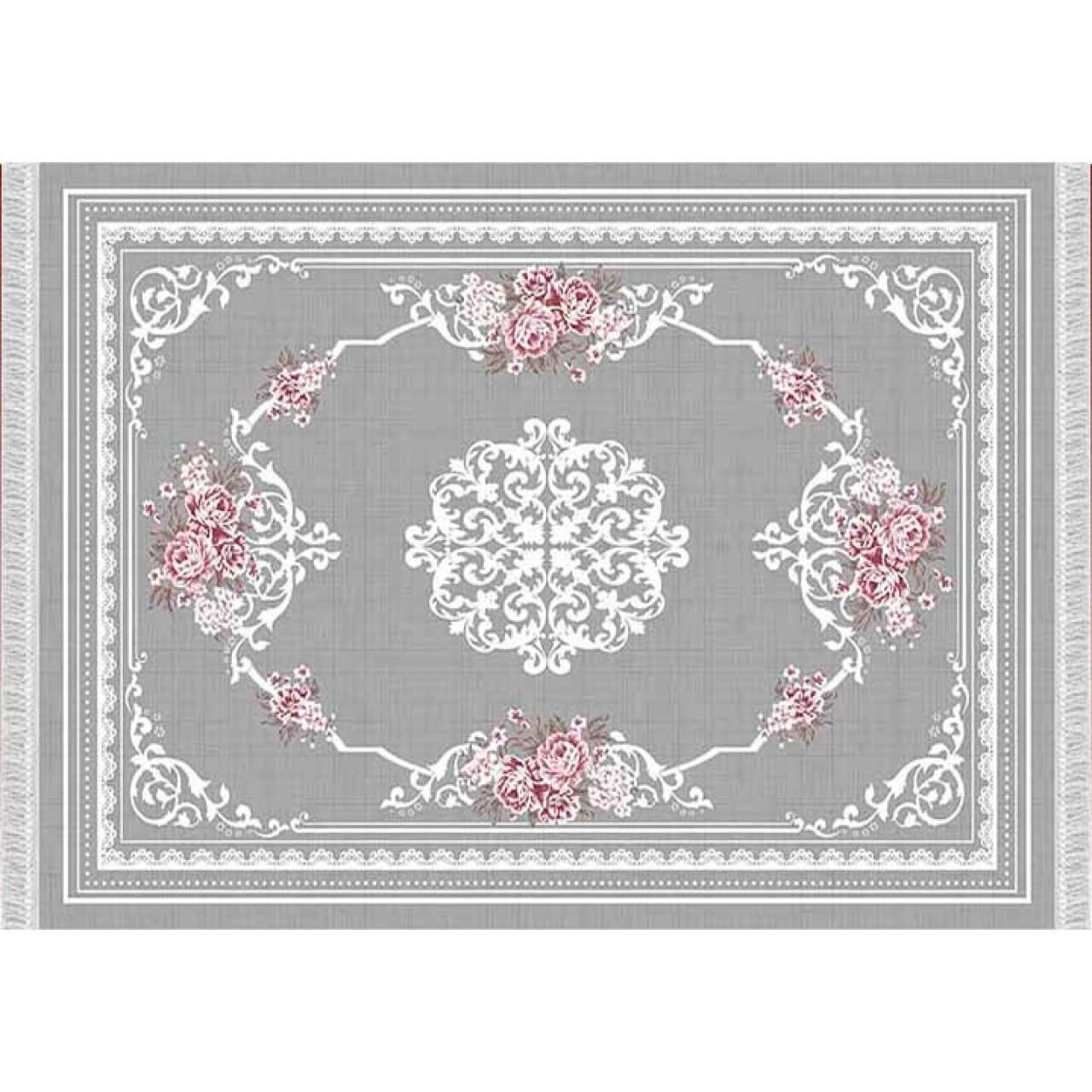 Covor Delicate, Sedef Koberec 904, 80 x 150 cm, 100% poliester, gri/alb/rosu