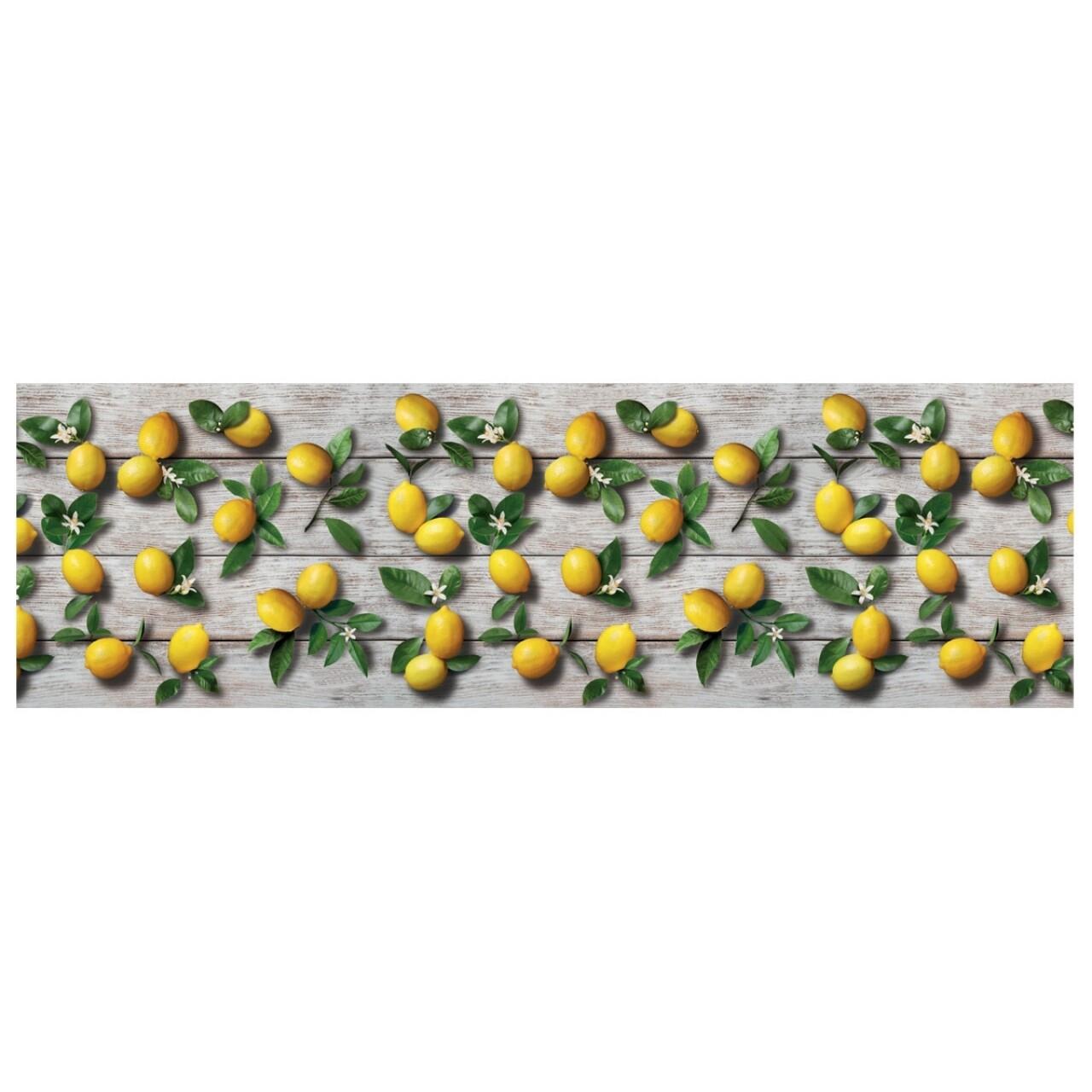 Covor rezistent Webtappeti Limoni 58 x 190 cm, gri/galben/verde