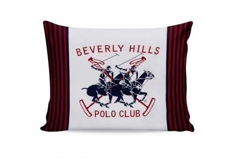 Set 2 fete de perna 50x70, 100% bumbac, Beverly Hills Polo Club, White/Dark Blue/Red/Orange