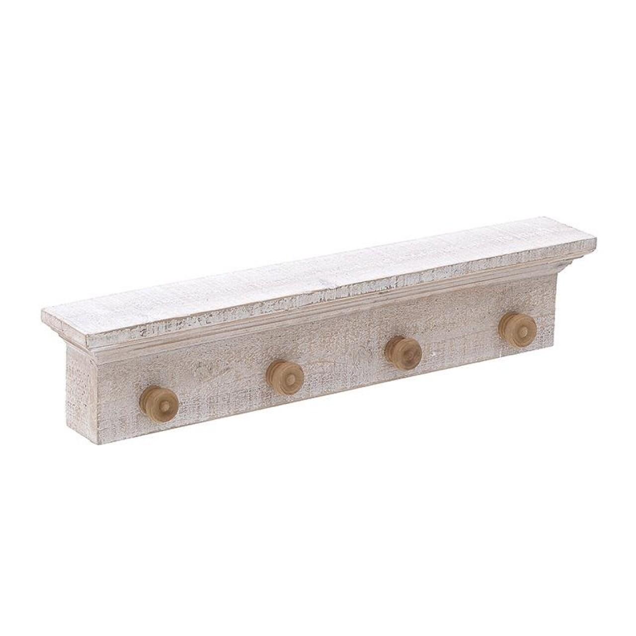 Cuier din lemn Vintage, InArt, 66 x 9.5 x 13.5 cm, 4 agatatori, lemn, crem