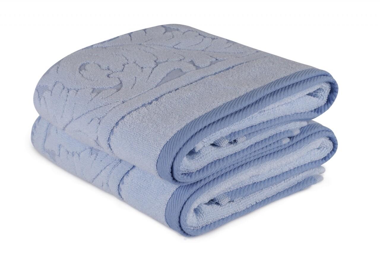 Set 2 prosoape de maini 50x90 cm, 100% bumbac, Hobby, Sultan, albastru