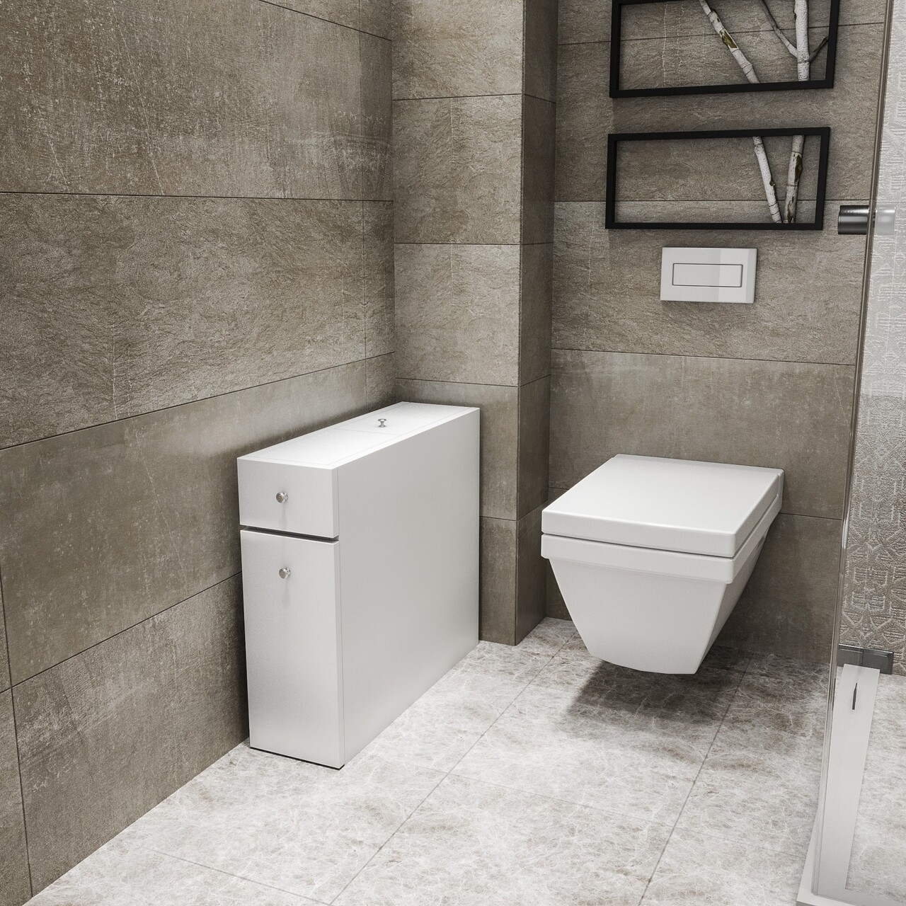 Dulap multifunctional pentru baie Calencia, Kalune Design, 19x60x55 cm, alb