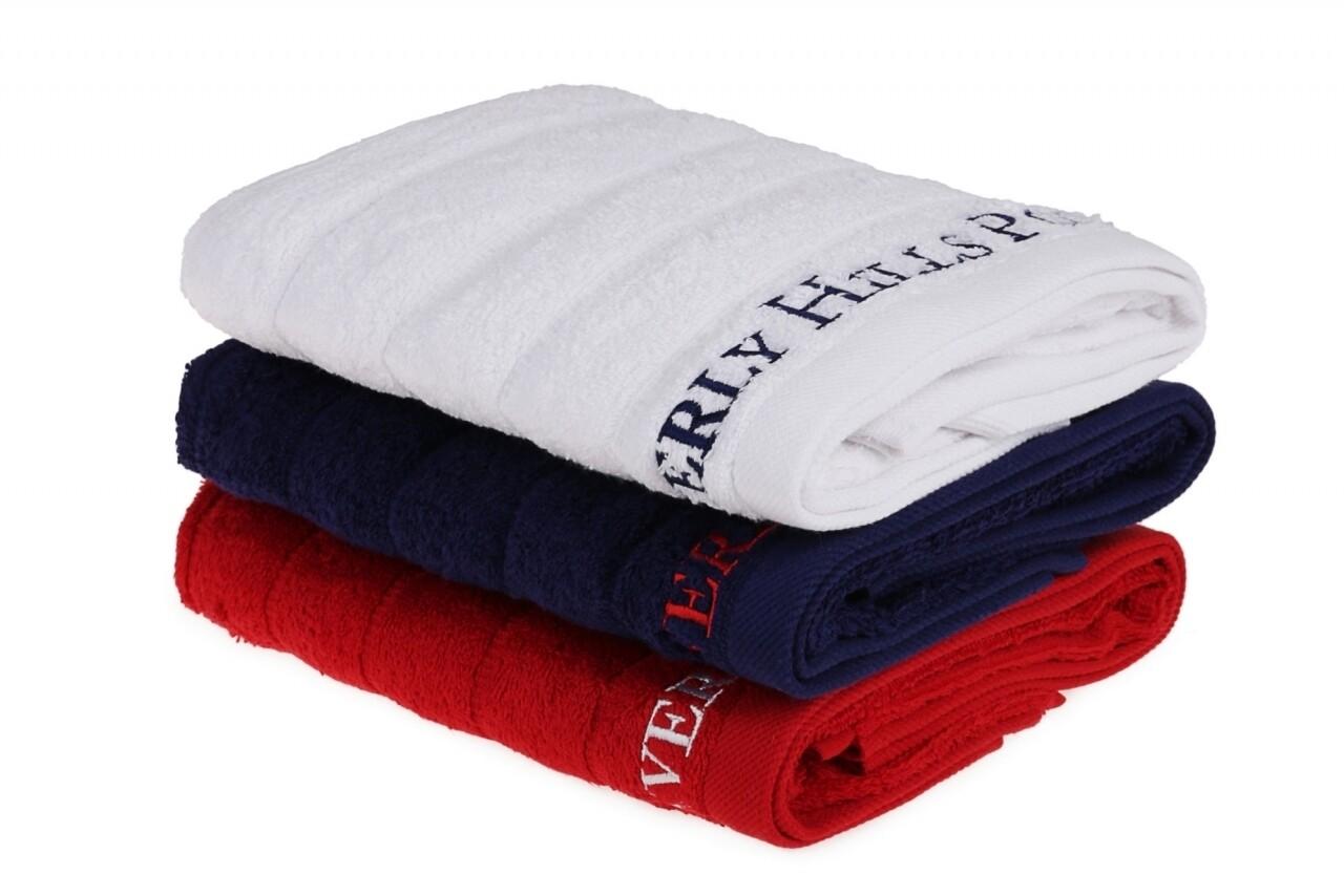 Set 3 prosoape de maini Beverly Hills Polo Club, 50x90 cm, 100% bumbac, Dark Blue/White/Red