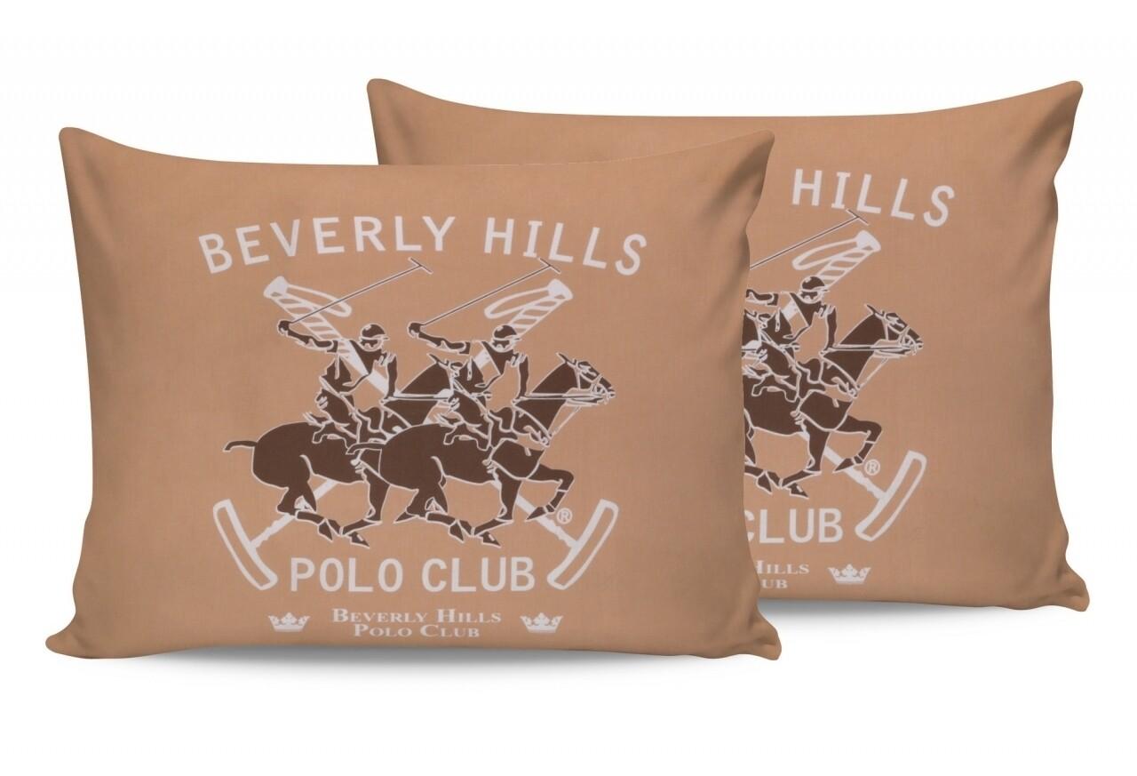 Set 2 fete de perna 50x70, 100% bumbac, Beverly Hills Polo Club, Somon/Alb/Maro