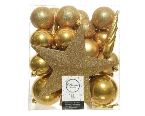 Cutie cu 33 globuri asortate si varf de brad Star Mustard, Decoris, plastic, galben