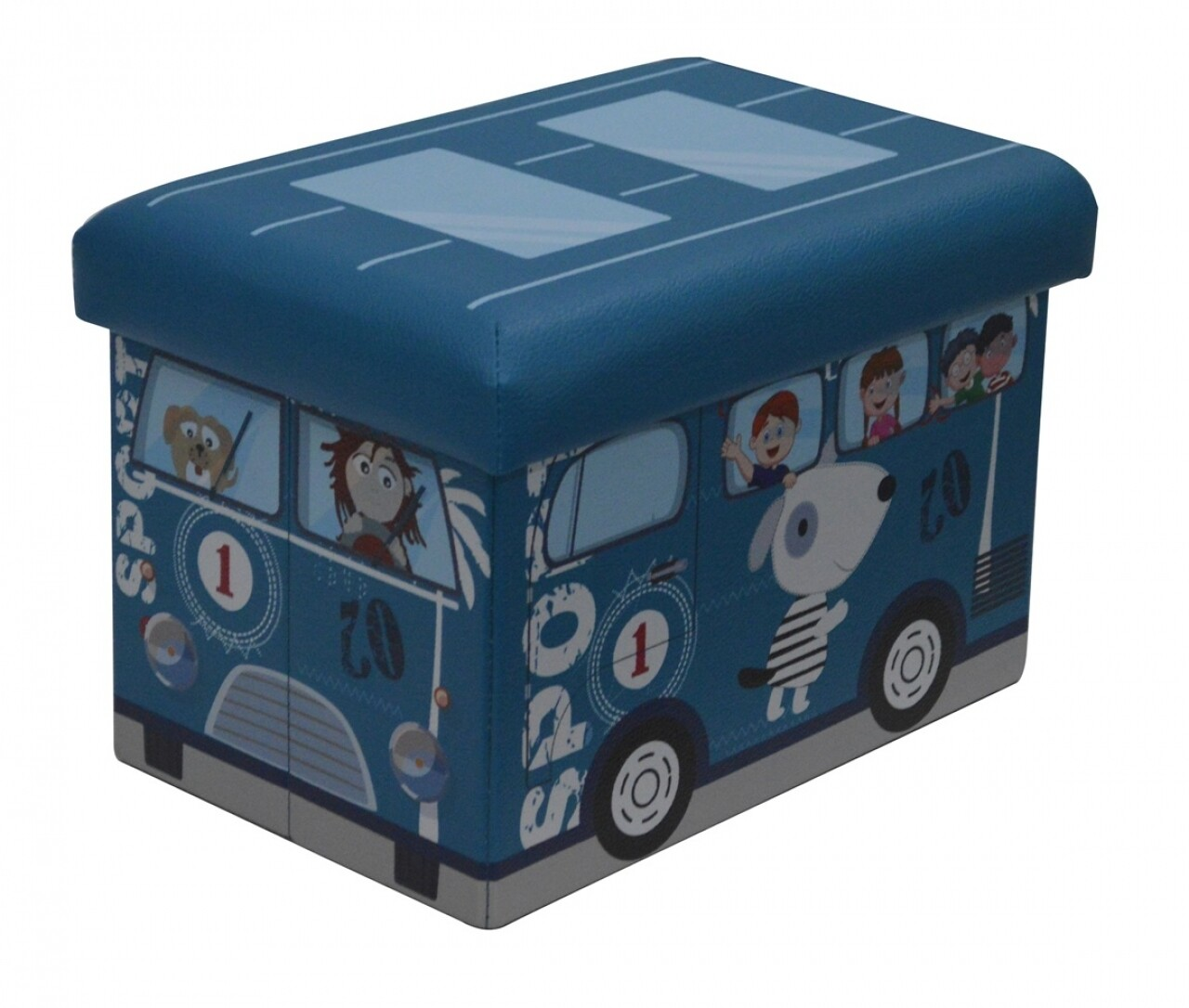 Taburet pliabil cu spatiu de depozitare Blue Bus, Heinner Home, 24.5 x 25 x 38 cm, PVC, albastru