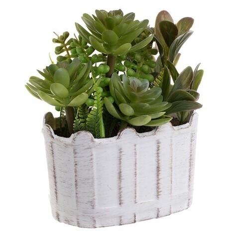 Planta decorativa Succulent, InArt, 16 x 12 x 8 cm, plastic, alb/verde