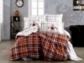 Lenjerie de pat pentru o persoana, 3 piese, 100% bumbac poplin, Hobby, Adalia Orange, multicolora
