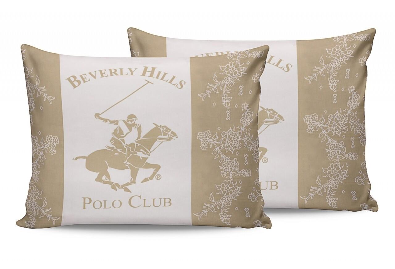 Set 2 fete de perna 50x70, 100% bumbac, Beverly Hills Polo Club, BHPC 013 - Cream, Alb/Crem