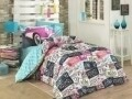 Lenjerie de pat pentru o persoana, 3 piese, 100% bumbac poplin, Hobby, Classica, multicolora
