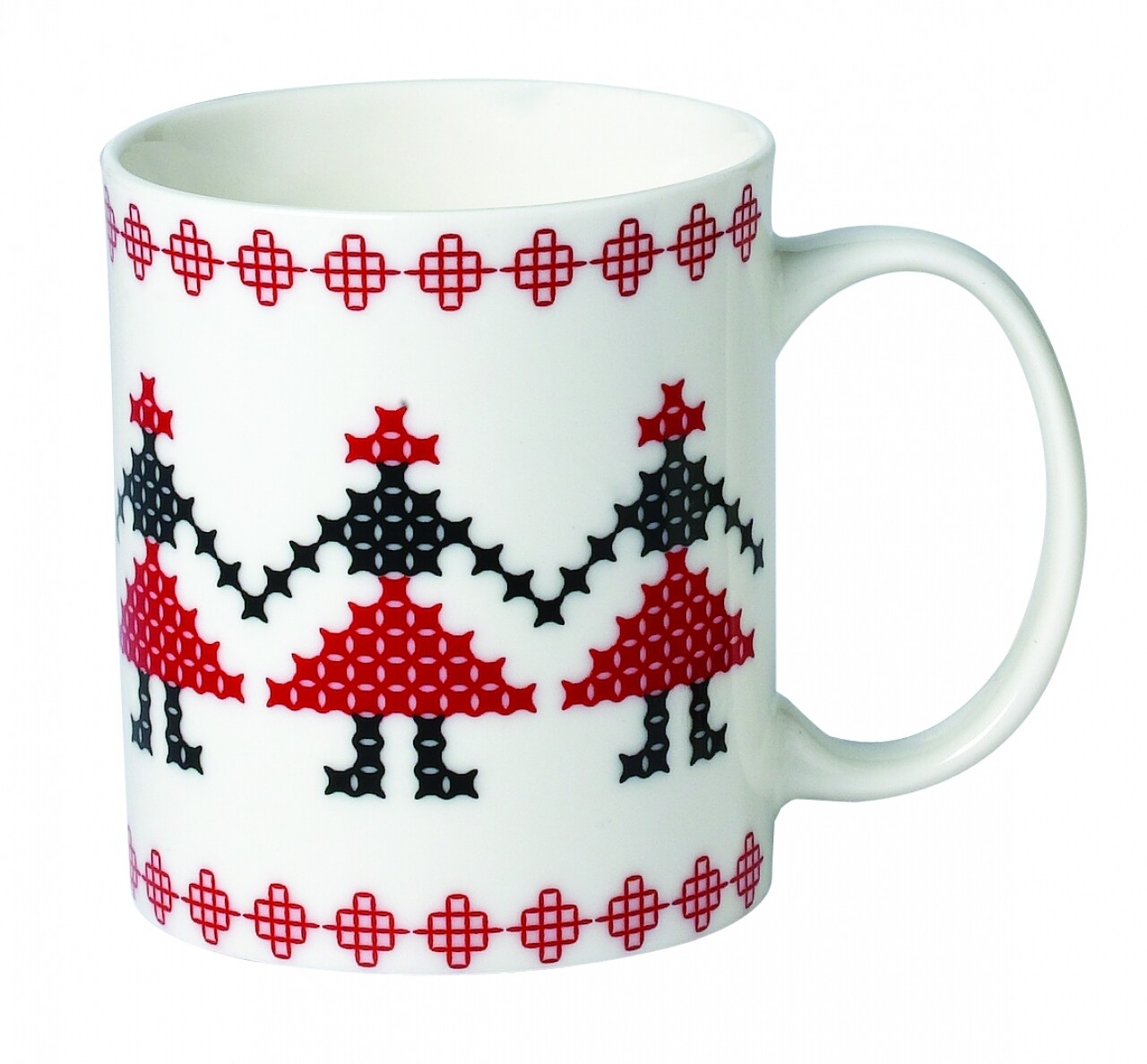 Cana Folk, Heinner Home, 310 ml, New Bone China, alb/negru/rosu