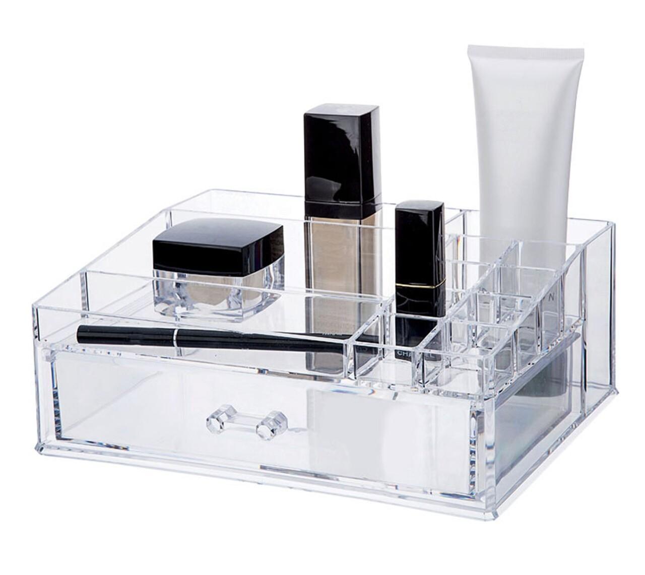 Organizator pentru cosmetice Compactor, 11 compartimente, transparent