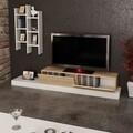 Mobilier living Luse, Pakoworld, 180x29.5x30.8 cm, PAL melaminat, stejar/alb