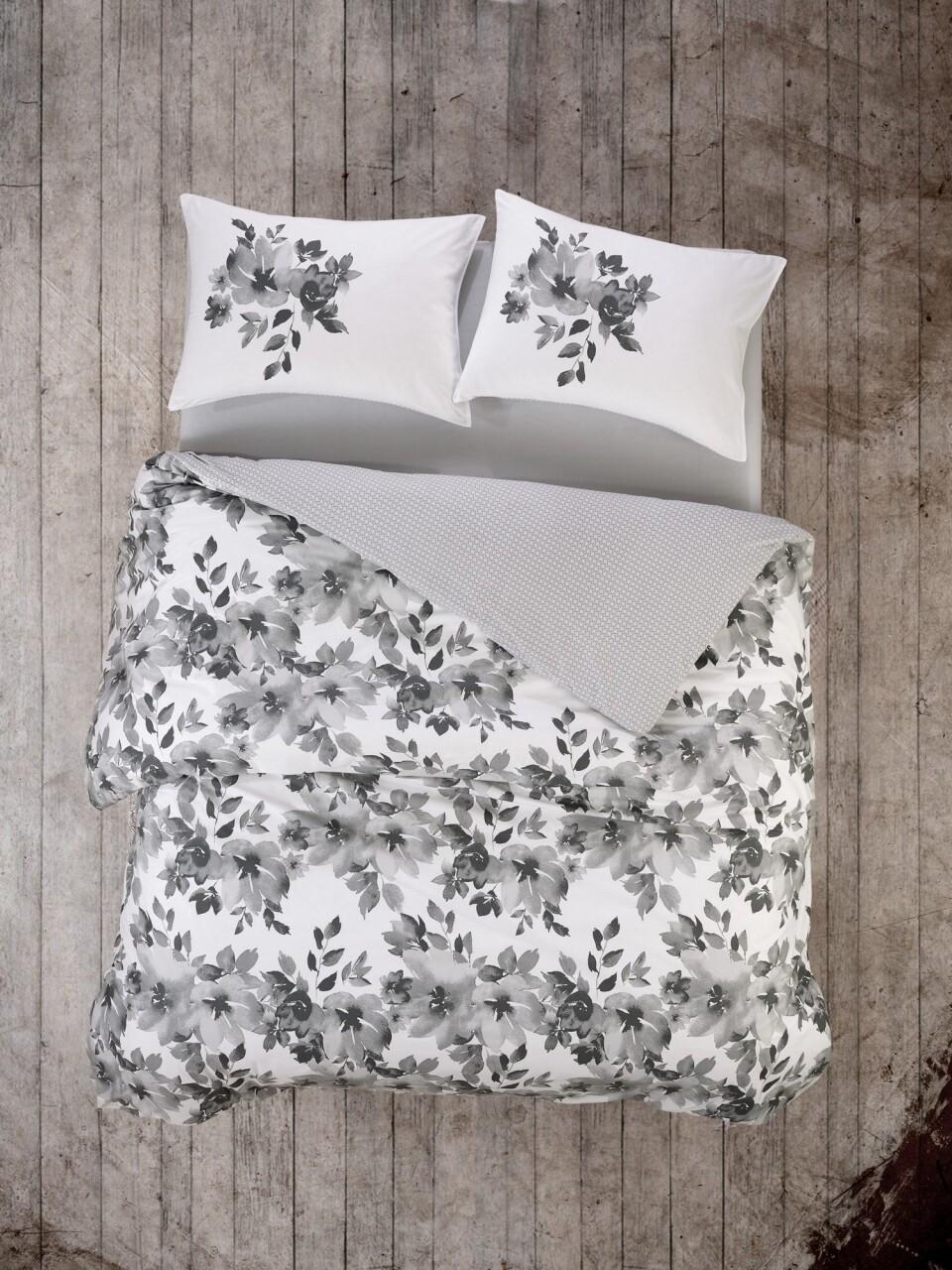 Lenjerie de pat matlasata pentru o persoana, 3 piese, 100% bumbac ranforce, Cotton Box, Volante Grey