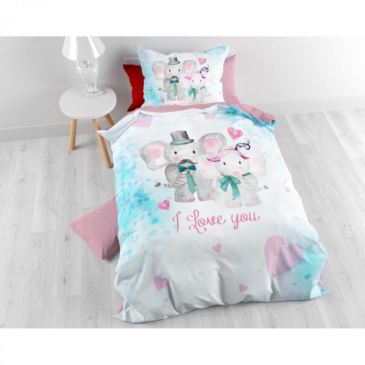 Lenjerie de pat pentru o persoana, Baby Love Multi, Royal Textile, 2 piese, 140 x 200 cm, 100% bumbac, multicolora