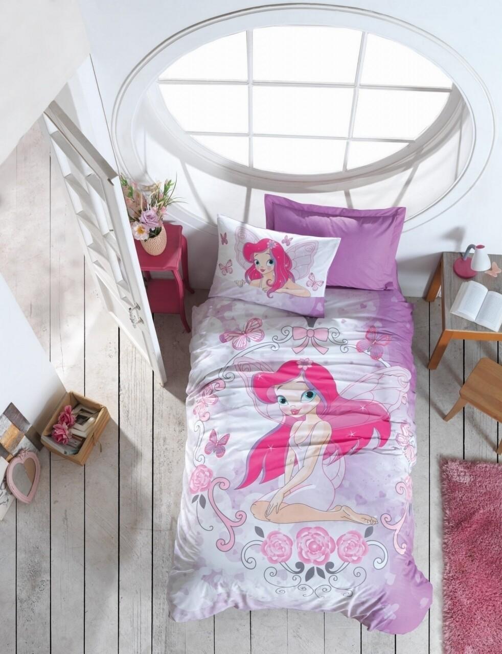 Lenjerie de pat pentru o persoana Fairy, Cotton Box, 3 piese, 160 x 240 cm, 100% bumbac ranforce, multicolora