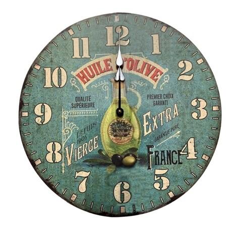 Ceas de perete Huile Olive, Bedora, Ø 34 cm, multicolor