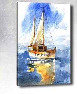 Tablou decorativ Sail Boat, Tablo center, 40x60 cm, canvas, multicolor