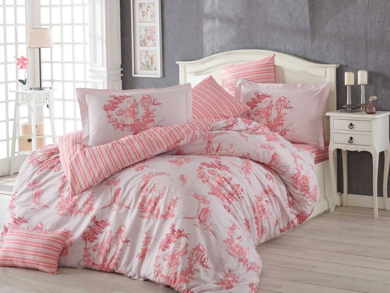 Lenjerie de pat pentru o persoana, 3 piese, 100% bumbac poplin, Hobby, Vanessa, roz