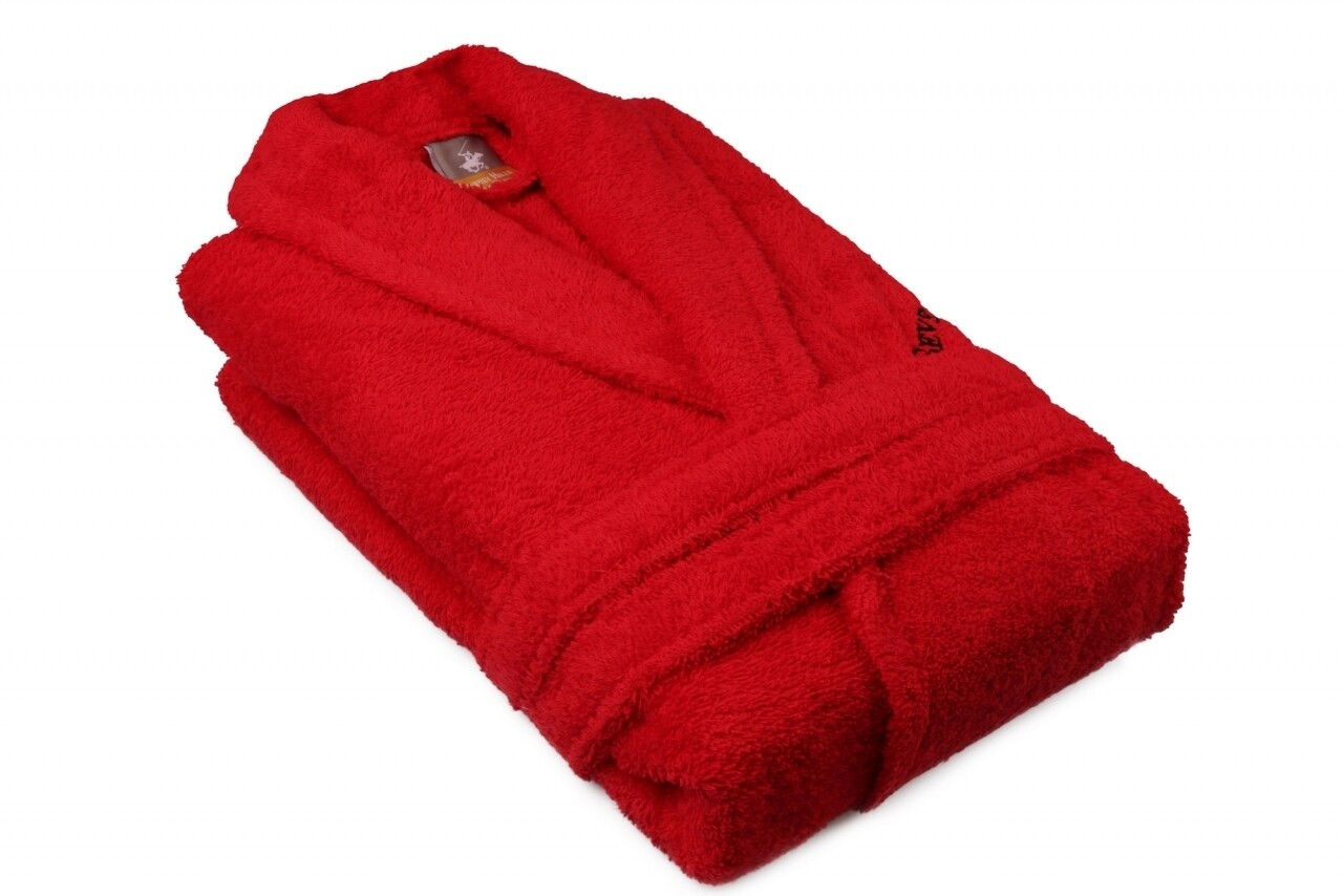 Halat de baie unisex, Beverly Hills Polo Club, 100% bumbac, XS/S, Red