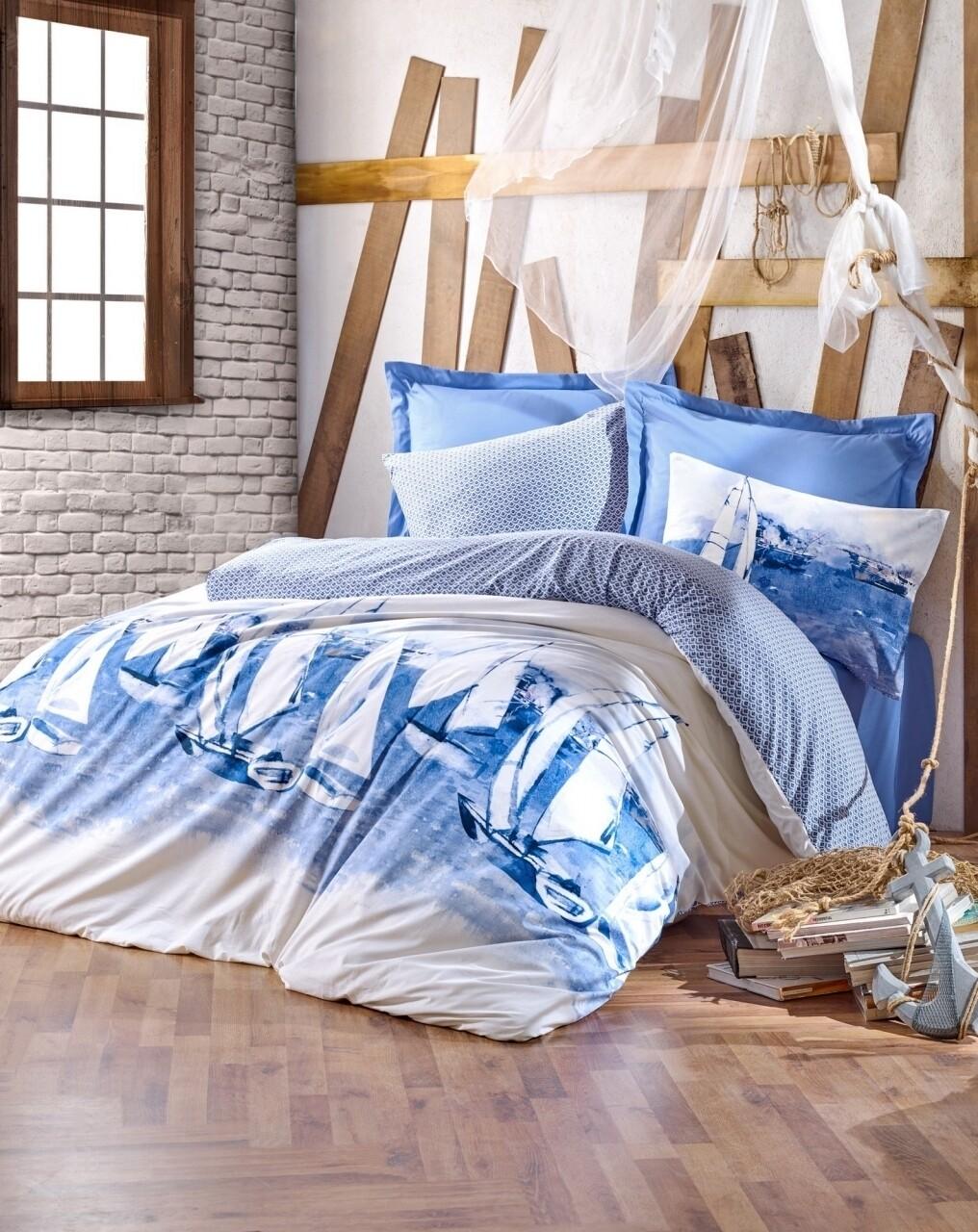 Lenjerie de pat pentru o persoana, 3 piese, 100% bumbac ranforce, Cotton Box, Pusla