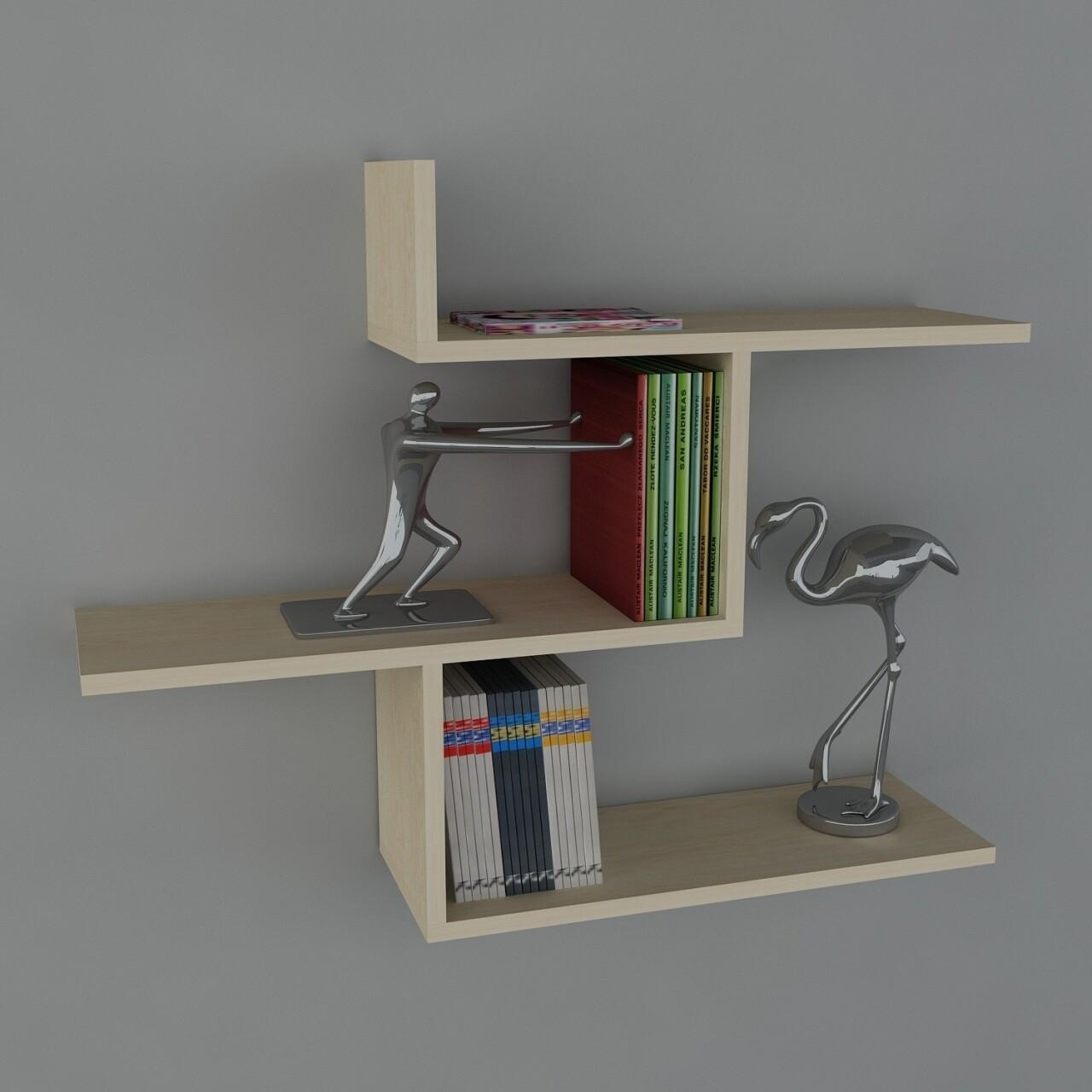 Raft pentru perete, Wooden Art, Bien Birch, 89.5x70.5x22 cm