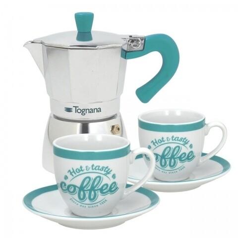 Set cafetiera cu 2 cesti si farfurii Grancucina, Tognana, aluminiu/portelan, multicolor