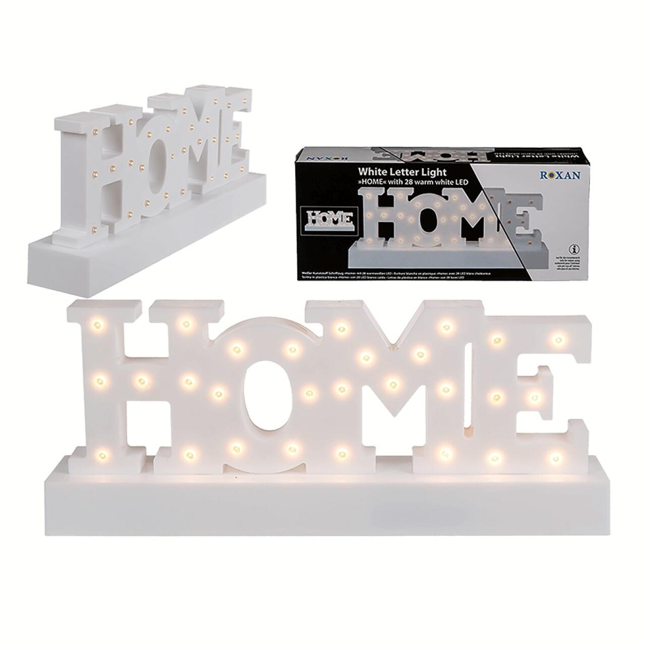 Decorațiune luminoasa Home LED, 30 x 12 cm, plastic, alb