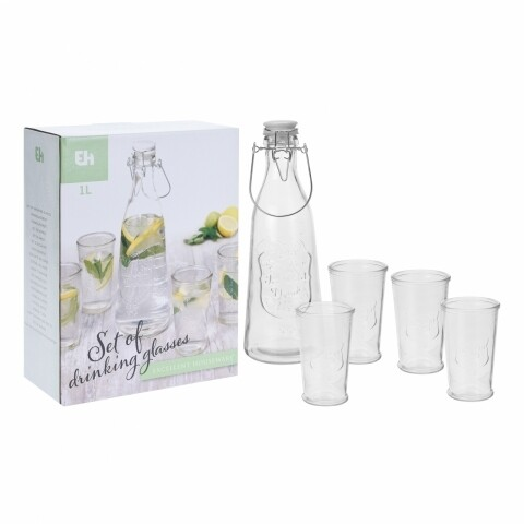 Set 4 pahare si sticla, transparent, sticla