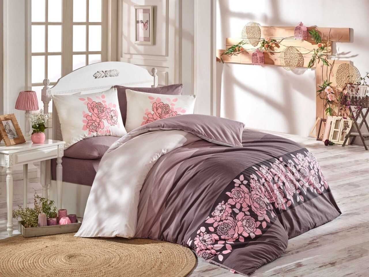 Lenjerie de pat pentru o persoana, 3 piese, 100% bumbac ranforce, Hobby, Martina, roz/bej