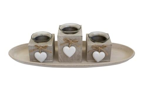 Set 3 suporturi pentru lumanare + tava Heart, Bedora