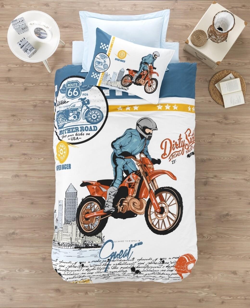 Lenjerie de pat pentru o persoana Cross, Cotton Box, 3 piese, 160 x 240 cm, 100% bumbac ranforce, multicolora
