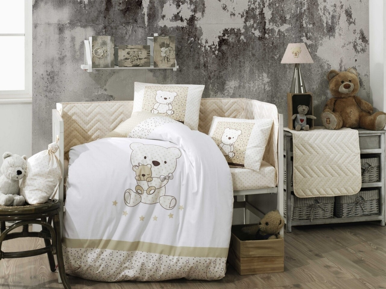 Lenjerie de pat pentru copii, 4 piese, 100% bumbac poplin, Hobby, Bonita Gold