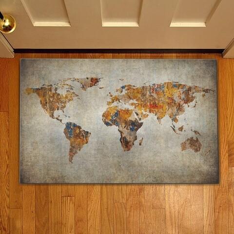 Covoras de intrare World map, Casberg, 38x58 cm, poliester, gri