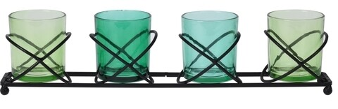 Suport pentru lumanari, 40 x 8.5 x 7 cm, metal, verde