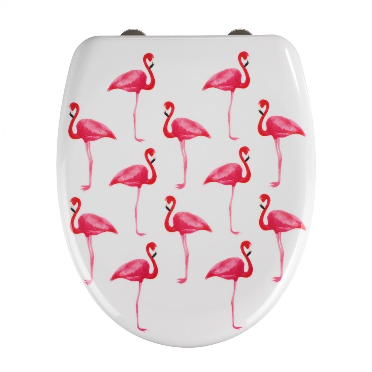 Capac de toaleta cu sistem automat de coborare Flamingo, Wenko, 45 x 38 cm, duroplast, alb/roz
