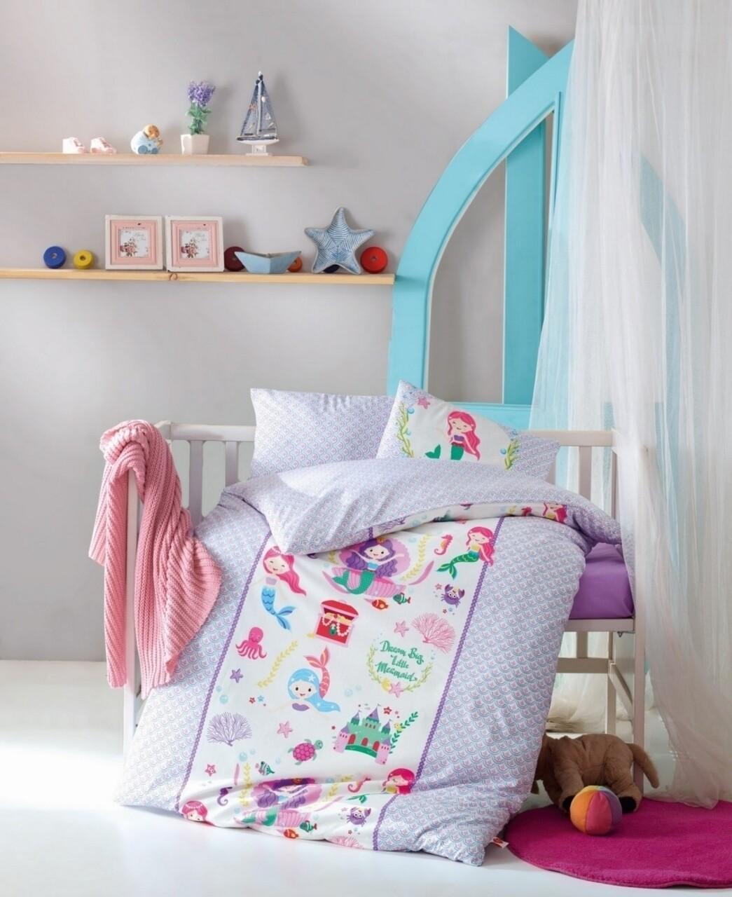 Lenjerie de pat pentru copii, 4 piese, 100% bumbac ranforce, Cotton Box, Sirens