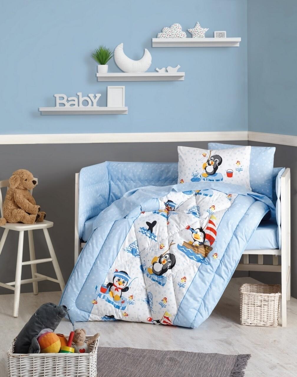 Set de pat pentru copii, 6 piese, 100% bumbac ranforce, Cotton Box, Penguen
