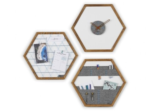 Set ceas de perete, panou memo si organizator de perete Rafevi Tuva, 60 x 52 cm, albastru