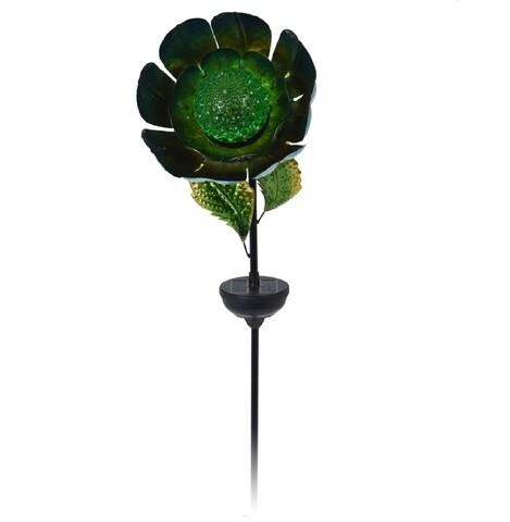 Lampa solara de gradina Flower, H117 cm, verde