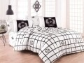 Lenjerie de pat pentru o persoana, Royal, Beverly Hills Polo Club, 3 piese, 160 x 240 cm, 100% bumbac ranforce, alb/negru