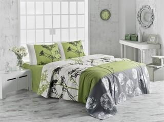 Cuvertura de pat dubla King Size, Victoria, Belezza Green FR, 220x240 cm, 100% bumbac, multicolor