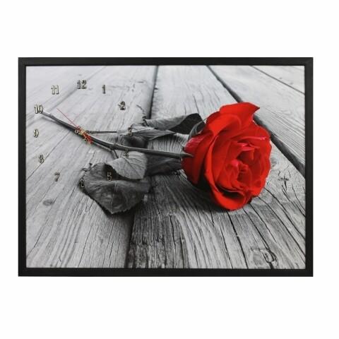 Tablou cu ceas 50x70 cm, Heinner Home, Rose